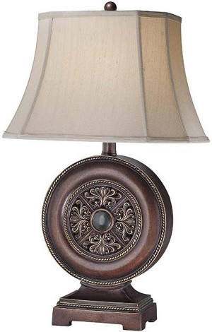 Lite Source Inc. TABLE LAMP - ANT. BRONZE W.MARBLE DECO./FABRIC SHADE, A 150W - C41012