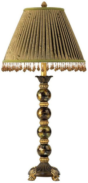 Lite Source Inc. BUFFET TABLE LAMP - BRONZE/GOLD W/FABRIC SHADE&BEADS 150W/A - C478