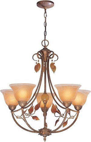 Lite Source Inc. 5 LITES CHANDELIER - RUSTED BROWN/AMBER GLASS SHADE, A 40Wx5 - C7606