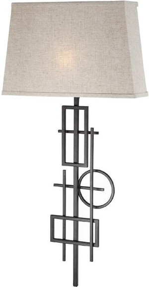 Lite Source Inc. WALL LAMP, AGED BRONZE/L.BEIGE FABRIC SHADE, - LS-16918