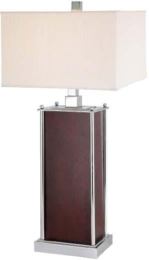 Lite Source Inc. TABLE LAMP, CHROME/DARK WALNUT W/WHITE FABRIC SHADE, A 100W - LS-2843
