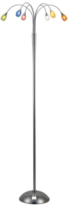 Lite Source Inc. 6-LITE FLOOR LAMP, PS W/MULTI GLASS SHADE, TYPE JC/G4 10Wx6 - LS-8025MULTI