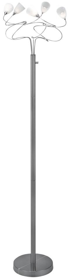Lite Source Inc. 5-LITE FLOOR LAMP, PS W/CRACKLED FROST GLASS, JC/G4 20Wx5 - LS-8588PS/FRO