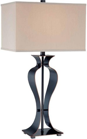 Lite Source Inc. TABLE LAMP, DARK BRONZE/L.BEIGE FABRIC SHADE, CFL 25W/3-WAY - LSF-21243D/BRZ