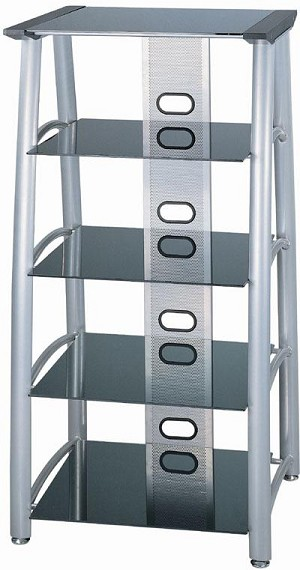 Lite Source Inc. 5-TIER TV TOWER, SILVER CHROME/BLACK GLASS, 28''Lx24''Wx54''H - LSH-5608