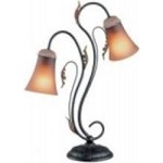 Lite Source Inc. 2 LITES TABLE LAMP - DARK BRONZE/AMBER GLASS SHADE, A 60Wx2 - C4725