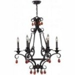 Lite Source Inc. 6 LITES CHANDELIER - ANT. BRONZE WROUGHT IRON, E12 B 60Wx6 - C7651