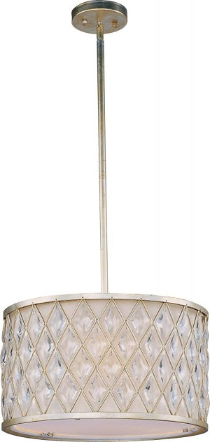 Maxim Three Light Golden Silver Drum Shade Pendant - 21455OFGS