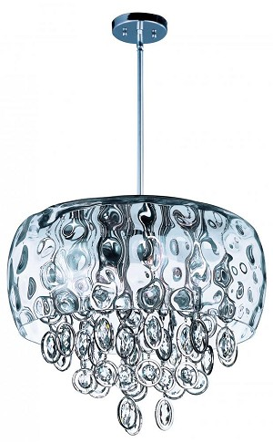 Maxim Ten Light Water Glass Glass Polished Nickel Down Pendant - 21475WGPN
