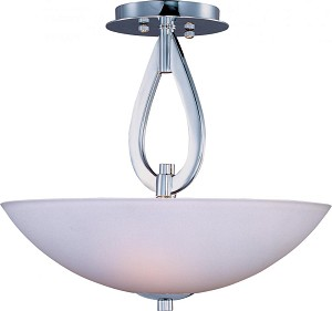 Maxim Three Light Polished Chrome Satin White Glass Bowl Semi-Flush Mount - 22172SWPC