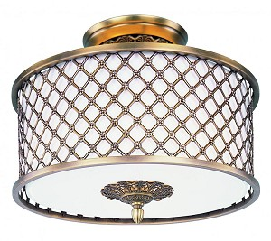 Maxim Three Light Natural Aged Brass Drum Shade Semi-Flush Mount - 22361OMNAB