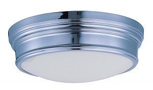Maxim Three Light Satin White Glass Polished Nickel Drum Shade Flush Mount - 22371SWPN