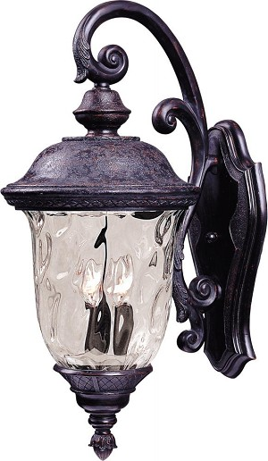 Maxim Two Light Oriental Bronze Water Glass Glass Wall Lantern - 3496WGOB