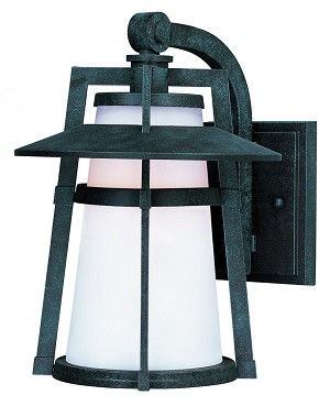 Maxim One Light Satin White Glass Adobe Wall Lantern - 3536SWAE