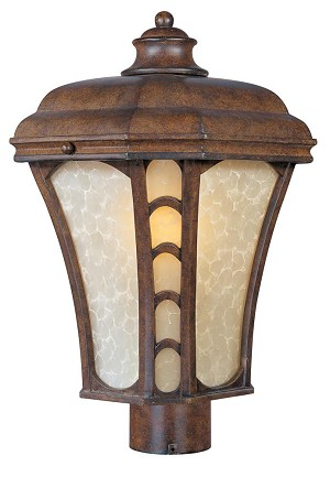 Maxim One Light Antique Pecan Latte Glass Post Light - 85480LTAP