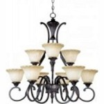 Maxim Nine Light Oil Rubbed Bronze Wilshire Glass Up Chandelier - 13506WSOI