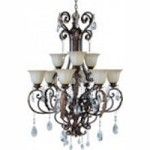 Maxim Nine Light Cafe Glass Auburn Florentine Up Chandelier - 13566CFAF