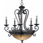 Maxim Eight Light Oil Rubbed Bronze Vintage Amber Glass Up Chandelier - 20285VAOI