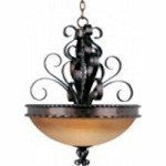 Maxim Three Light Oil Rubbed Bronze Vintage Amber Glass Up Pendant - 20606VAOI