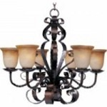 Maxim Six Light Oil Rubbed Bronze Vintage Amber Glass Up Chandelier - 20607VAOI
