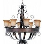 Maxim Eight Light Oil Rubbed Bronze Vintage Amber Glass Up Chandelier - 20610VAOI