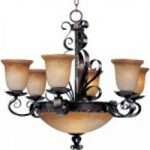 Maxim Nine Light Oil Rubbed Bronze Vintage Amber Glass Up Chandelier - 20613VAOI