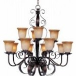 Maxim Twelve Light Oil Rubbed Bronze Vintage Amber Glass Up Chandelier - 20614VAOI