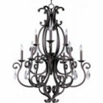 Maxim Nine Light Colonial Umber Up Chandelier - 31006CU