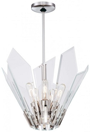 Minka George Kovacs Five Light Polished Nickel Clear Beveled Glass Up Pendant - P1065-613