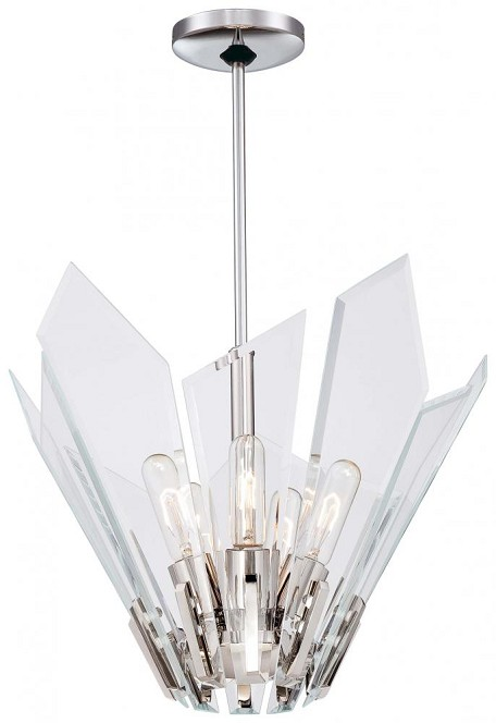 Polished Nickel 5 Light Full Sized Pendant From The Glassy Collection