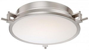 Minka George Kovacs Ninety Six Light Brushed Nickel Clear / Inside White Glass Drum Shade Flush Mount - P1109-084-L