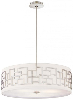 Minka George Kovacs Four Light Brushed Nickel White Fabric With Etched White  Diffuser Shade Drum Shade Pendant - P197-084