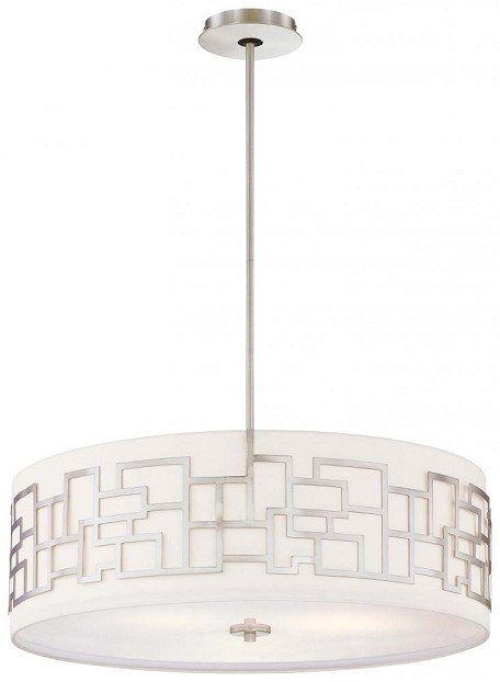 Brushed Nickel 4 Light Drum Pendant From The Alecia'S Necklace Collection