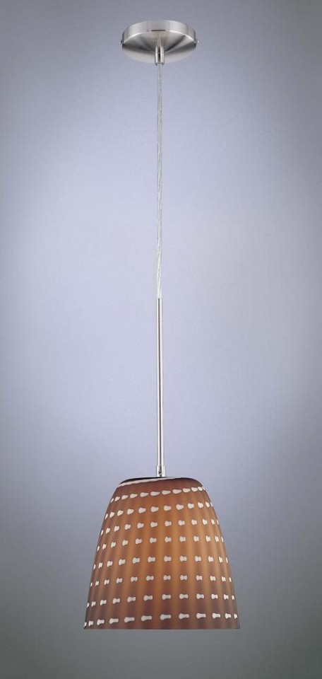 Minka George Kovacs One Light Brushed Nickel Cappuccino Glass Down Pendant - P422-084