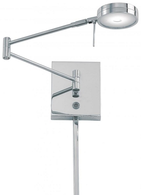 Chrome 1 Light 6.25In. Height Led Plug In Wall Sconce In Chrome With Round Shade From The George'S Reading Room Collection