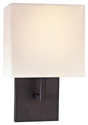 Minka George Kovacs One Light Bronze Shade  - Off White Linen Wall Light - P470-617