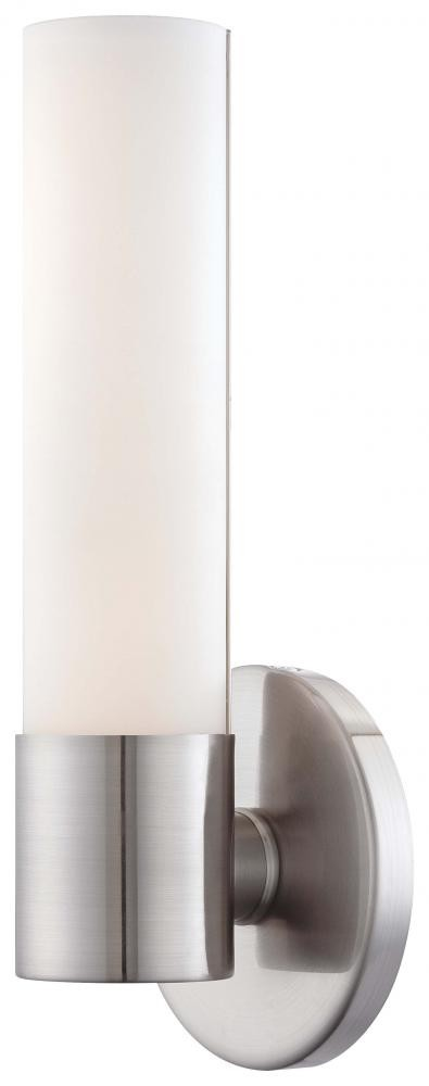 Brushed Nickel 1 Light 4.75in. Width ADA Compliant LED Bathroom Sconce in Brushed Nickel from the Saber Collection