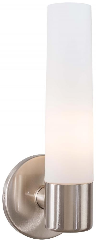 Brushed Stainless Steel 1 Light 4.75in. Width Bathroom Sconce in Brushed Stainless Steel from the Saber Collection