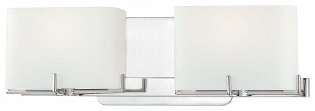 Chrome 2 Light 15.5in. Bathroom Vanity Light from the Curvy Corner Collection