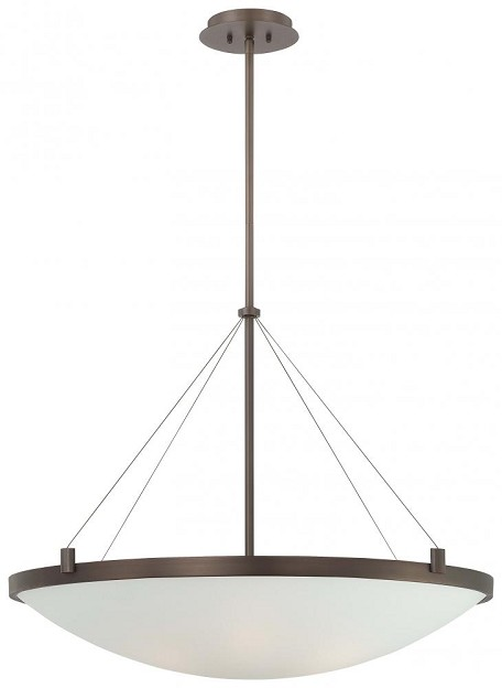 Minka George Kovacs Six Light White Frosted Glass Copper Bronze Patina Up Pendant - P593-647