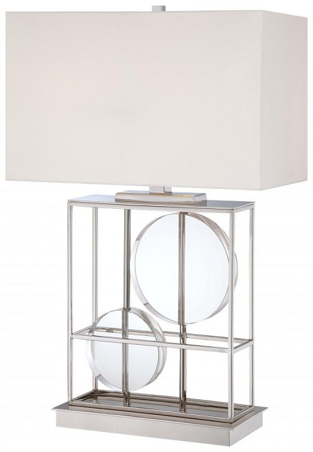 Minka George Kovacs Two Light Polished Nickel White Fabric Shade Table Lamp - P763-613