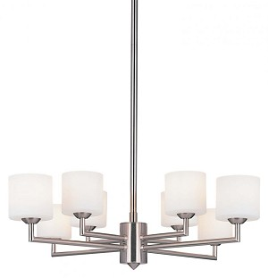 Minka George Kovacs Eight Light Brushed Nickel Etched Opal Cased Glass Up Chandelier - P8078-084