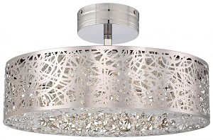 Minka George Kovacs Ninety Six Light Chrome Drum Shade Semi-Flush Mount - P985-077-L