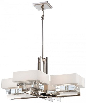 Minka Metropolitan Eight Light Polished Nickel Mitered  White Inside W/eidolon Krystal Accents Glass Up Chandelier - N6268-613