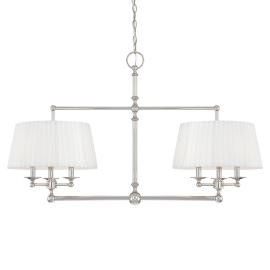 Minka Metropolitan Polished Nickel White Pleated Shades (incl.) Shade Up Chandelier - N6800-613