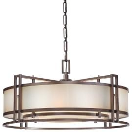 Minka Metropolitan Bronze Brushed Caramel Silk Glass Drum Shade Pendant - N6965-267B