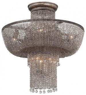 Minka Metropolitan Seven Light Antique Silver Bowl Semi-Flush Mount - N7207-578