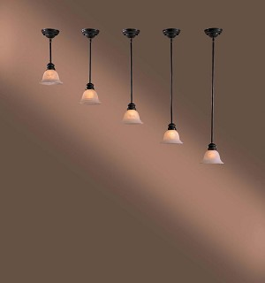 Minka-Lavery One Light Bronze Down Pendant - W30-37-PL