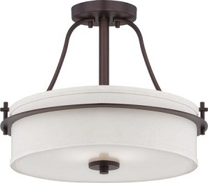 Nuvo Loren - 2 Light Semi Flush w/ White Linen Shade - 60/5007