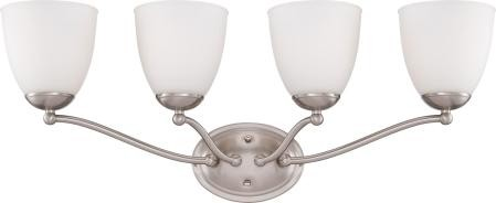 Nuvo Patton ES - 4 Light Vanity Fixture w/ Frosted Glass - (4) 13w GU24 Lamps Included - 60/5054